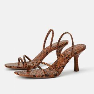 Zara Minimal Strap Snake Slingback Heels Sandals